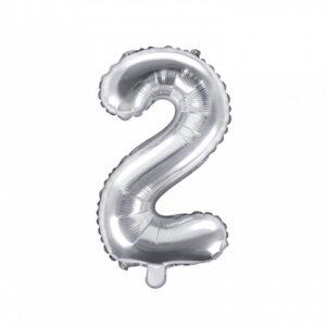PartyDeco Fóliový balónek Mini - Číslo 2 stříbrný 35cm
