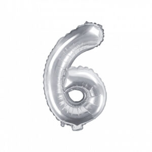 PartyDeco Fóliový balónek Mini - Číslo 6 stříbrný 35cm