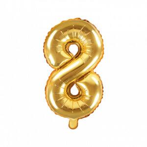 PartyDeco Fóliový balónek Mini - Číslo 8 zlatý 35cm