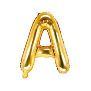 PartyDeco Fóliový balónek Mini - Písmeno A zlatý 35cm