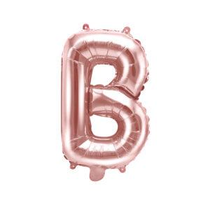 PartyDeco Fóliový balónek Mini - Písmeno B 35cm růžovo-zlatý