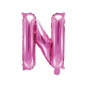 PartyDeco Fóliový balónek Mini - Písmeno N 35cm růžový