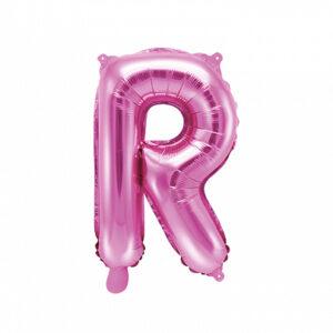 PartyDeco Fóliový balónek Mini - Písmeno R 35cm růžový