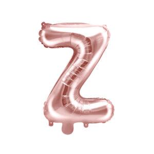 PartyDeco Fóliový balónek Mini - Písmeno Z 35cm růžovo-zlatý