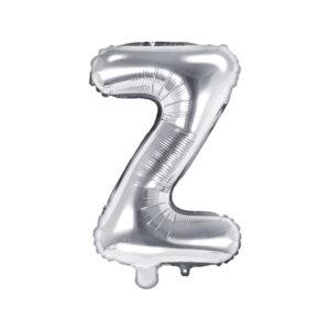 PartyDeco Fóliový balónek Mini - Písmeno Z stříbrný 35cm