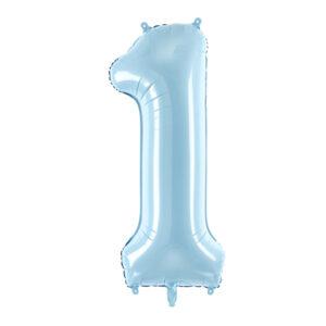 PartyDeco Fóliový balónek narozeninové číslo 1 - světlemodrý