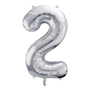 PartyDeco Fóliový balónek narozeninové číslo 2 stříbrný 86cm