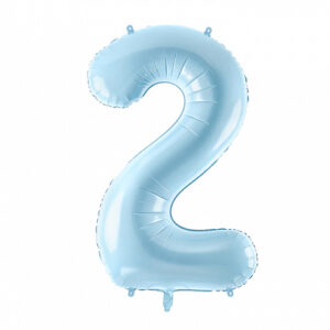 PartyDeco Fóliový balónek narozeninové číslo 2 - světlemodrý