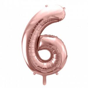 PartyDeco Fóliový balónek narozeninové číslo 6 - růžovo-zlatý