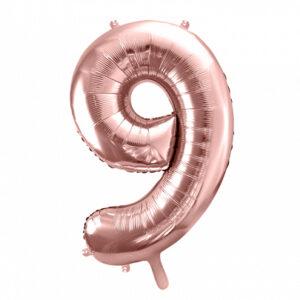 PartyDeco Fóliový balónek narozeninové číslo 9 - růžovo-zlatý