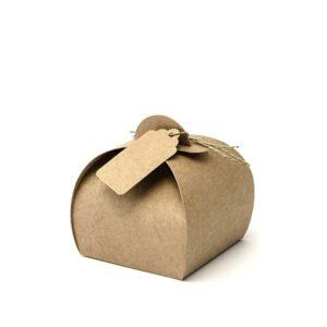 PartyDeco Krabičky na dárky se štítkem - hnědé