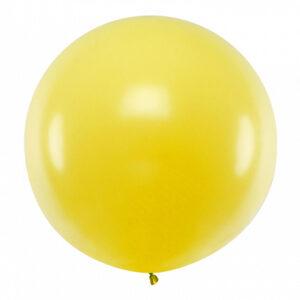 PartyDeco Kulatý latexový Jumbo balón 1 m - žlutý