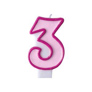 PartyDeco Narozeninová svíčka 3 růžová