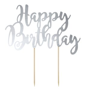 """PartyDeco Ozdoba na dort  """"Happy Birthday"""" - stříbrná"""