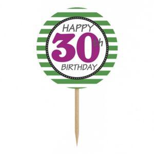 PartyDeco Ozdoby na cupcakes  30. narozeniny 6 ks