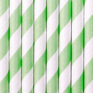 PartyDeco Papírové brčka zelené 10 ks