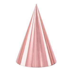 PartyDeco Párty kloboučky - holografické zlato-růžové 6 ks