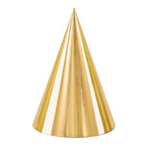PartyDeco Párty kloboučky - zlaté 6 ks