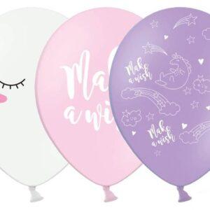 PartyDeco Pastelový balón - Jednorožec 30 cm