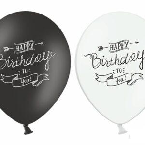 PartyDeco Pastelový balónek Happy birthday bíly nebo černý