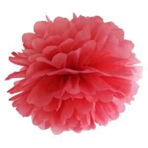 PartyDeco Pompom ve tvaru květu červený 35 cm