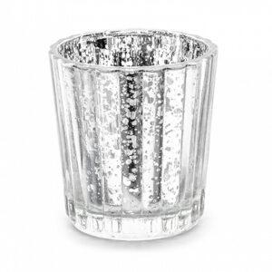 PartyDeco Svícen - stříbrný 6 cm
