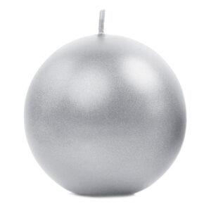 PartyDeco Svíčka - koule metalická stříbrná 8 cm