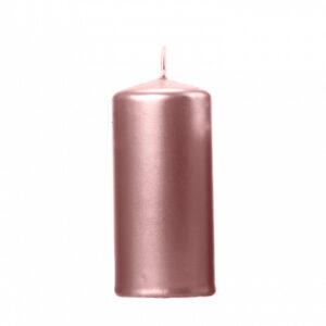 PartyDeco Válcová svíčka metalická - růžovo-zlatá 1ks