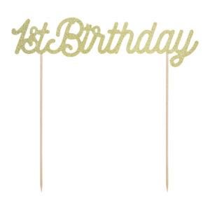 PartyDeco Zápich na dort první narozeniny - 1st Birthday zlatý