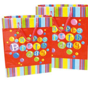 Procos Darčeková taška Happy Birthday - červená 300 x 120 x 410 cm