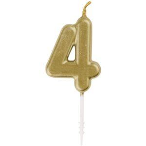 SVÍČKA číslice 4 zlatá