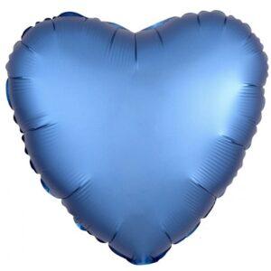 Amscan Fóliový balonek srdce satén - modrý 43 cm