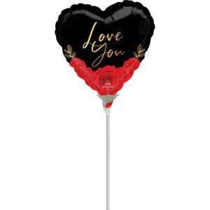 Amscan Mini fóliový balónek - Srdíčko s růžemi Love you