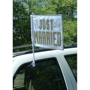 Amscan Svatební vlajka na auto Just Married