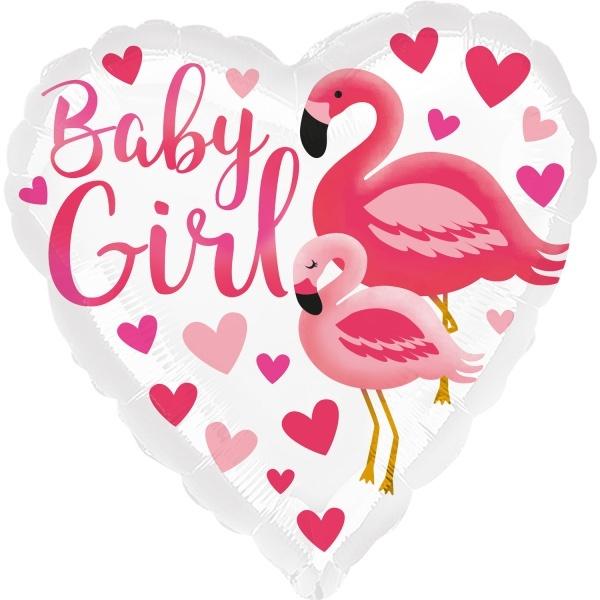 BALÓNEK fóliový Plameňák Baby girl