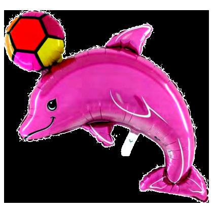 BP Fóliový balón - delfín s míčem (růžový)