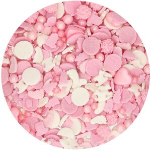 CakeSupplies Růžové a bílé cukrové zdobení Baby Girl 50 g