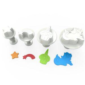 CakeSupplies Sada pístových vypichovaču jednorožec Unicorn - 4 druhy