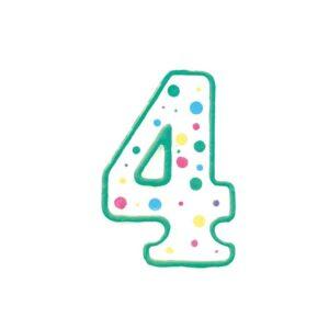 CakeSupplies Zeleno-bílá narozeninová svíčka číslice 4