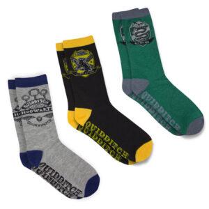 Distrineo Sada 3 párů ponožek Harry Potter - Famfrpál (Fakulty Bradavic)