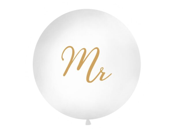 PartyDeco Kulatý Jumbo latexový balón bílý - zlaté Mr.