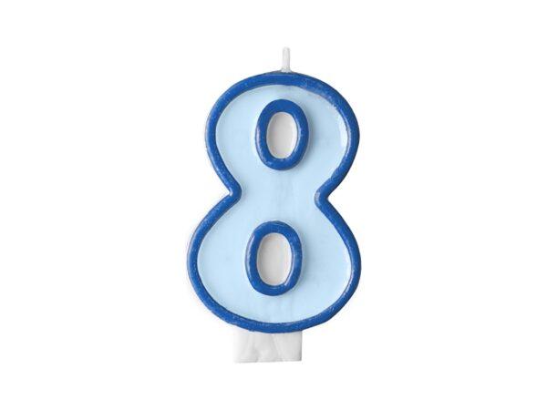 PartyDeco Narozeninová svíčka 8 modrá