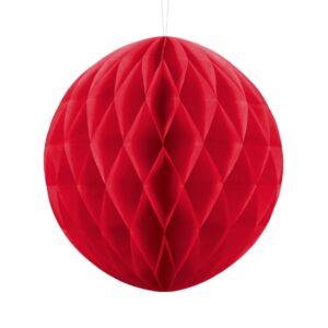 PartyDeco Papírová koule červená 30 cm