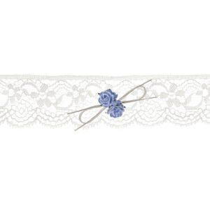 PartyDeco Svatební podvazek krajkový s růžemi