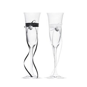 PartyDeco Svatební sklenice so srdíčkem