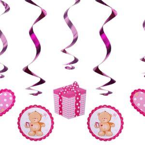 PartyDeco Visíci dekorace medvědík -  růžový
