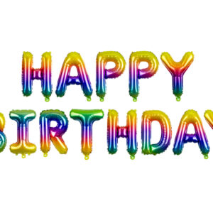 Partydeco Fóliový balón Happy Birthday - duhový