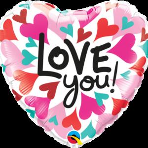 Qualatex Fóliový balón barevné srdíčka - Love you