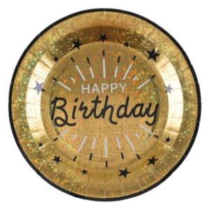 TALÍŘE papírové Happy Birthday Sparkling zlaté 22cm 10ks