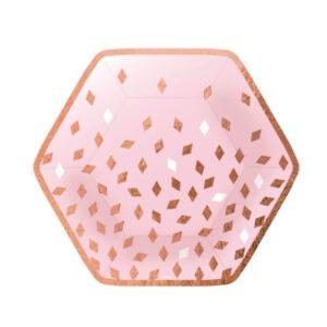 TALÍŘE papírové Hexagon Rose Gold Konfety 23cm 8ks